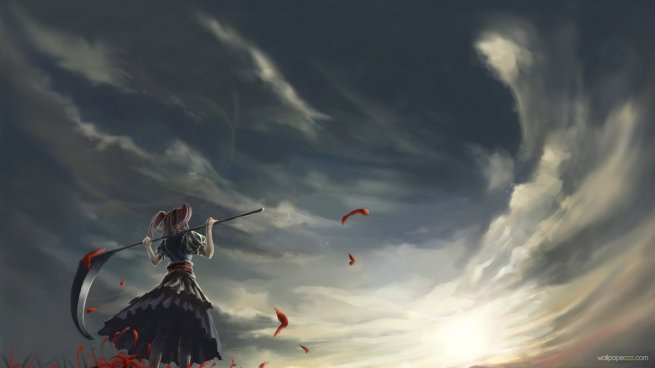 Wallpapersxl Death Angel Touhou Project Girl With Scythe Hd Anime 78685 1366x768 (1)